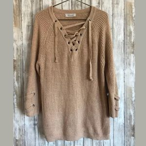 84b8a9a408 Chicwish Sweaters - Chicwish Lace Up Mood Sweater SZ M Chunky Knit NEW